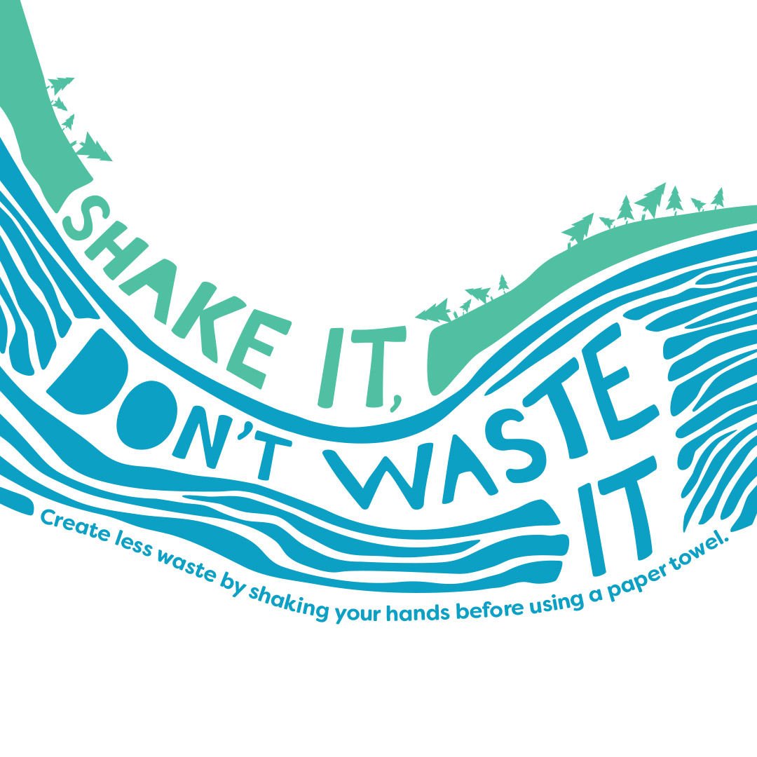 Shake It, Don't Waste It graphic with water and trees