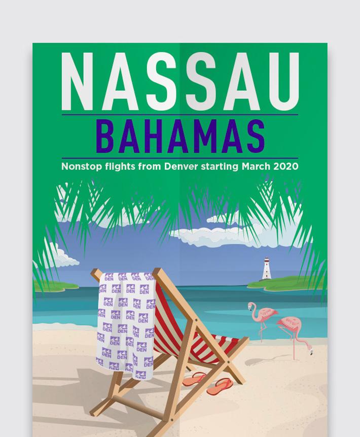 A poster for Denver International Airport's Nassau, Bahamas flight announcement