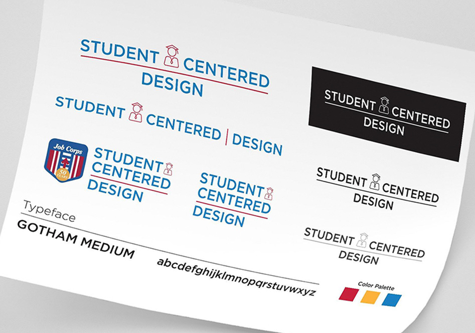 a piece of paper with the brand standards for the student centered design brand