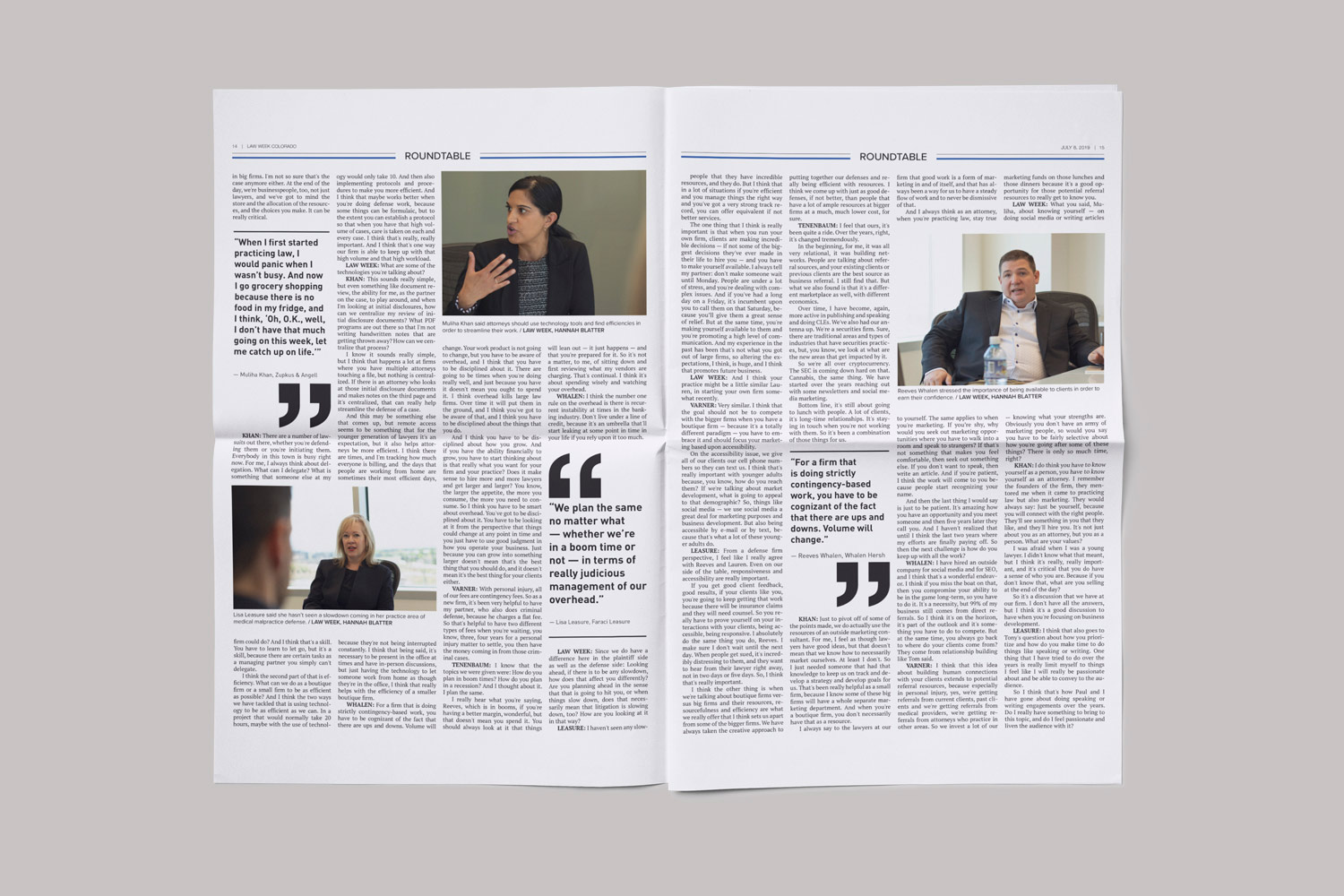 An interior spread of Law Week showcasing images of lawyers talking and pull quotes