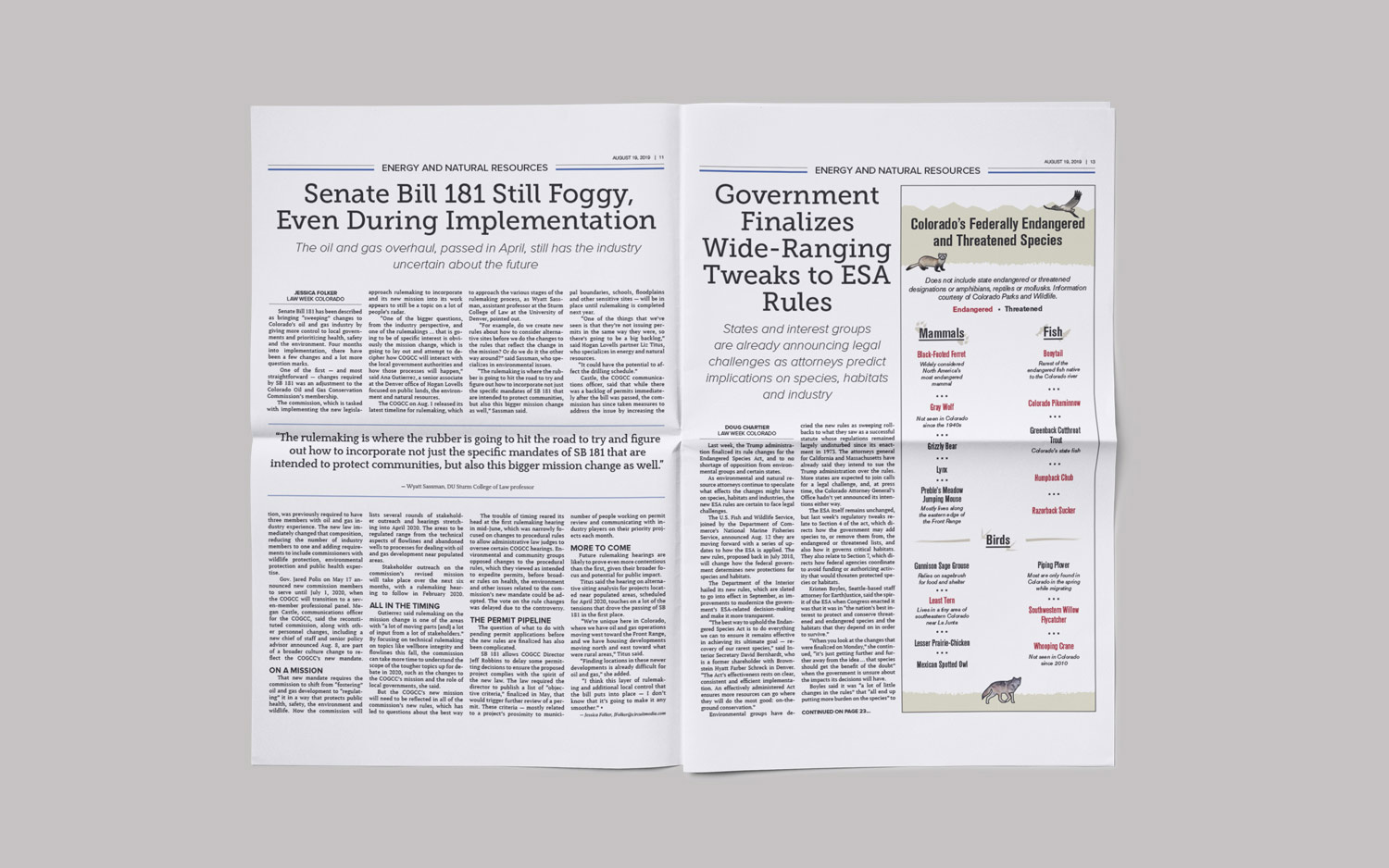 Image of an article from the Law Week Colorado newspaper that is designed and produced by Circuit Media.