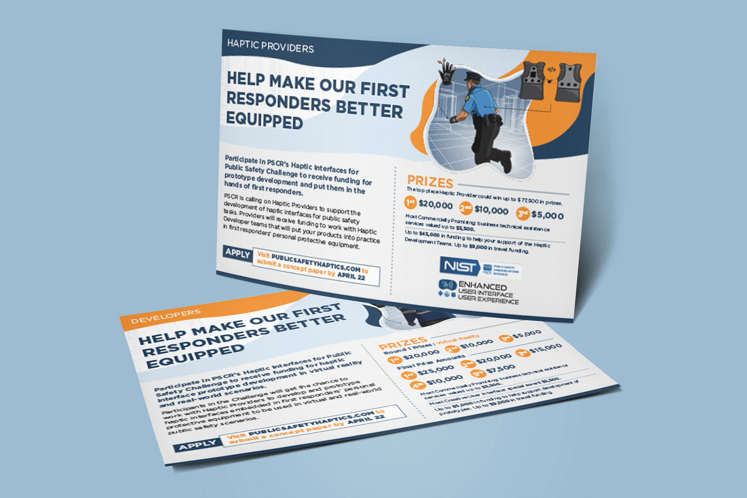 a front and back view of a marketing postcard for the National Institute of Science and Technology's Haptics challenge