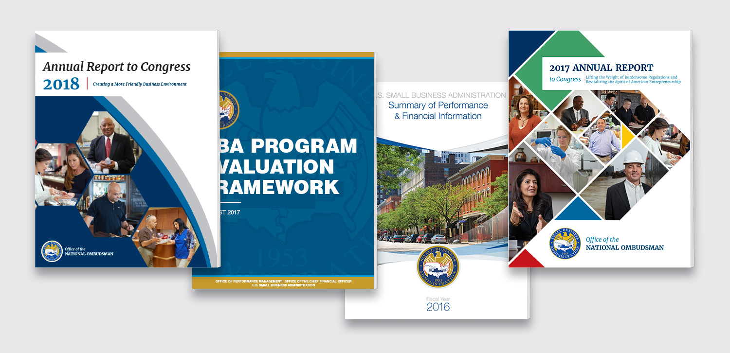 Four cover designs for the Small Business Administration annual reports
