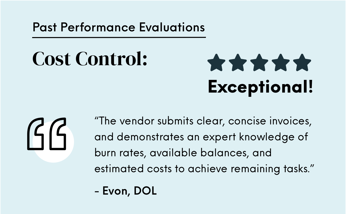Exceptional cost control evaluation from Department of Labor