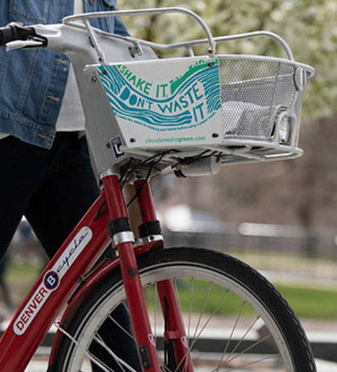 CM Green bike share basket ads