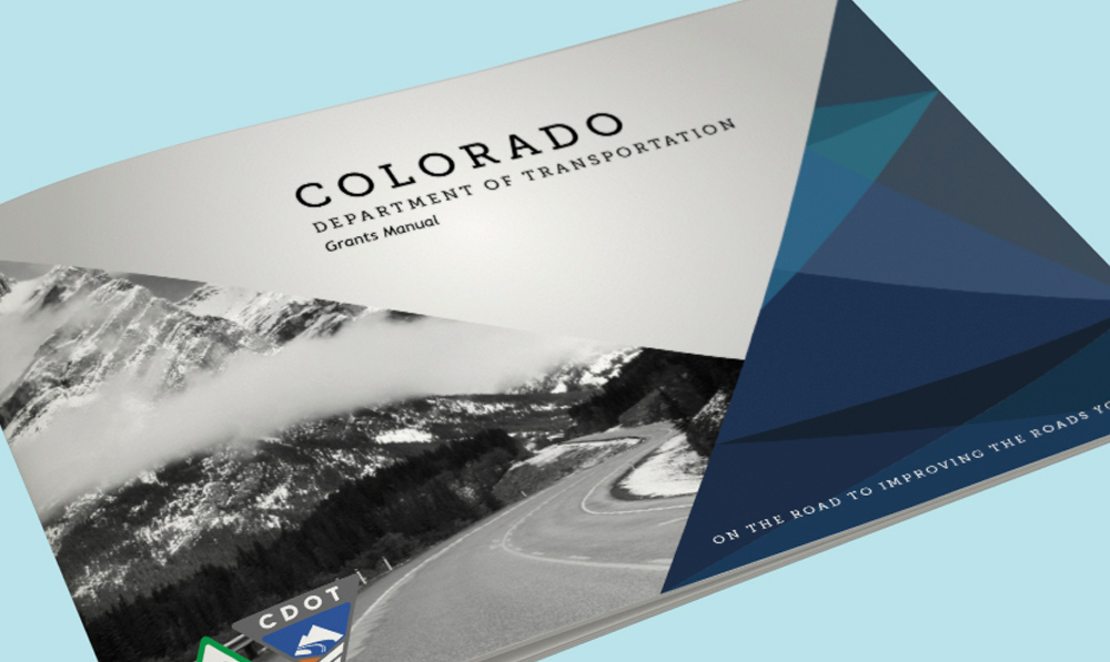 The Colorado Department of Transportation's Grant manual on a flat light blue background