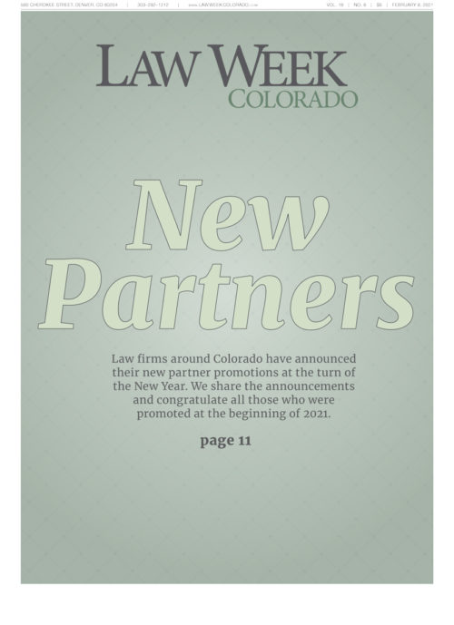 Law Week Colorado New Partners Cover
